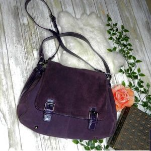 Cole Haan Dark Purple Wine Soft Suede messenger
